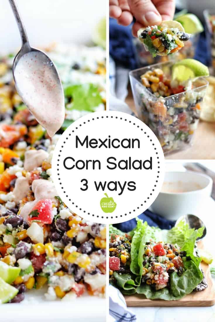 A Mexican Street Corn Salad that is healthy and simple to make. #sponsored This vegetarian side dish uses black beans, tomatoes, limes, cilantro, and peppers and is topped with no mayo, yogurt-based chili lime dressing. #tomatowellness #cornsalad #mexicancornsalad #mexicanstreetcornsalad #cornsaladnomayo #roastedcornsalad