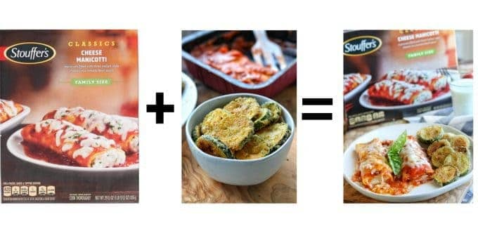 3 photos including the box of stuffers cheese manicotti, baked zucchini crisps in a white bowl and a photo of the cooked manicotti on a white plate served with the zucchini recipe.