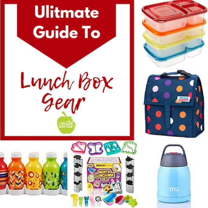 Photos of 4 lunch box gear items including containers, lunch box, thermos, water bottles, and cookie cutters
