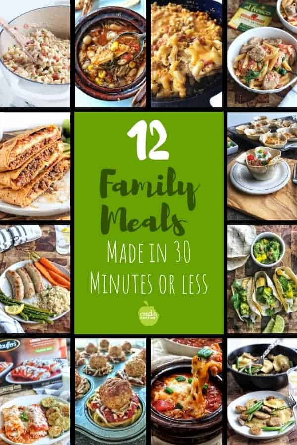 Simple dinner ideas and meals for kids that utilize fresh, frozen, or canned vegetables helping you get a balanced meal on the table in 30 minutes or less. #dinnerideas #kidfriendlydinnerrecipes #30minutemeals