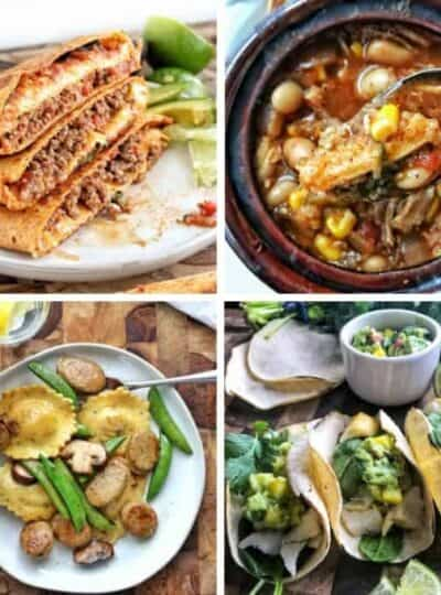 4 pictures of dinners with words family meals