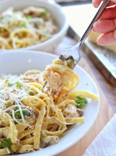 a fork with salmon pasta