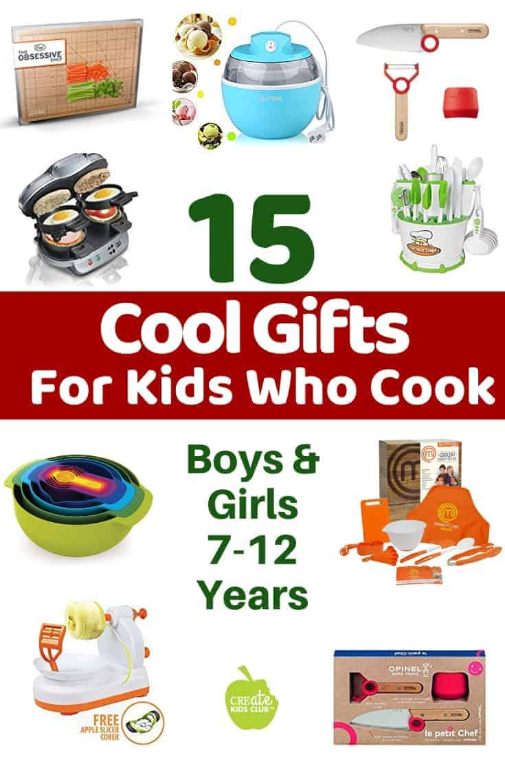 Gifts for Kid Chefs & Kids cooking sets showing pictures of a cutting board, tool set, sandwich maker, ice cream maker, knife set, and apple peeler gadget plus more unique gift ideas for kids who cook