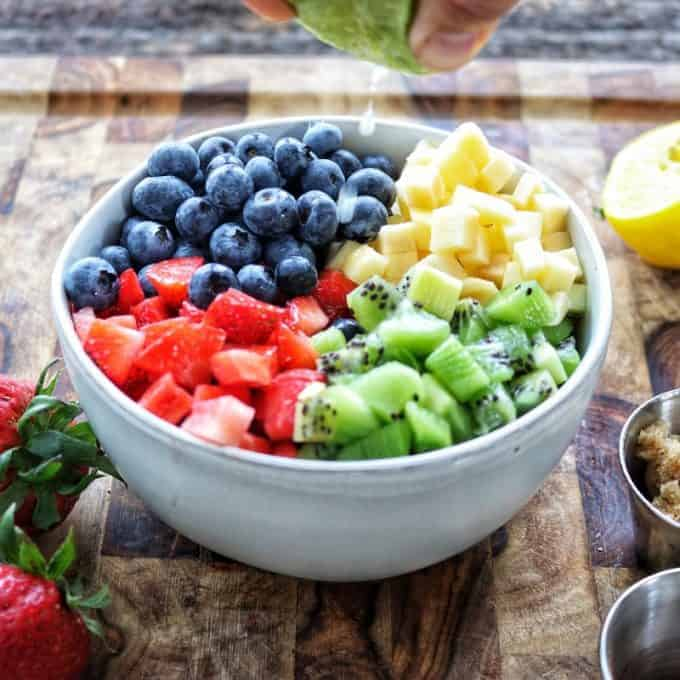 Fruit salsa in a bowl.