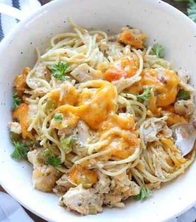 A bowl of chicken pasta