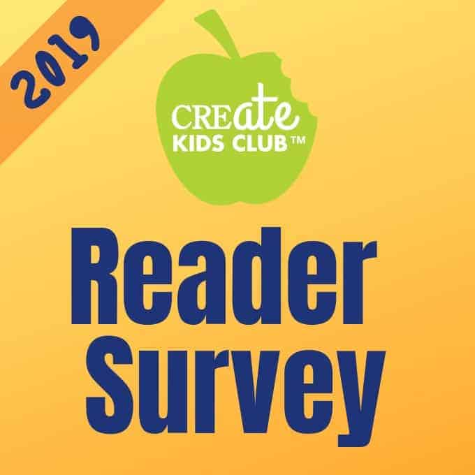 2019 Create Kids Club Reader Survey shown in words on an orange background