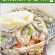 Chicken a la king casserole recipe with peas, a shredded chicken recipe