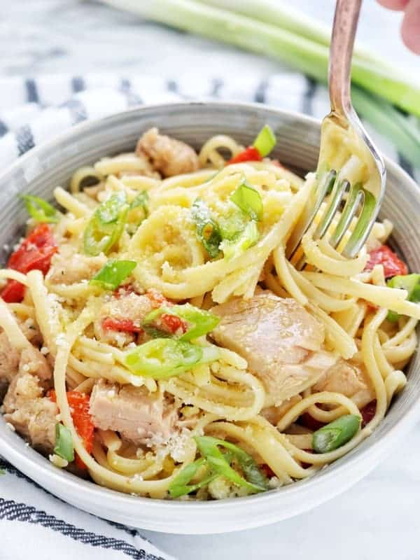 A bowl of pasta salad with canned tuna