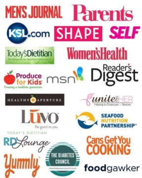Jodi Danen, RDN As Featured On Logos including Parents Magazine, Readers Digest, Mens Journal, Today's Dietitian, Shape, Self, Ksl.com, Luvo, Women's Health, RD Lounge, Yummly, The Diabetes Council, Cans Get you Cooking, Seafood Nutrition Partnership, Unite for her, MSN, Produce for kids, food gawker, and healthy aperture