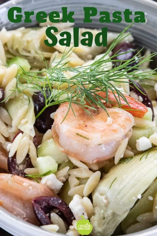 Greek Pasta salad, orzo pasta recipe, prawn pasta recipe