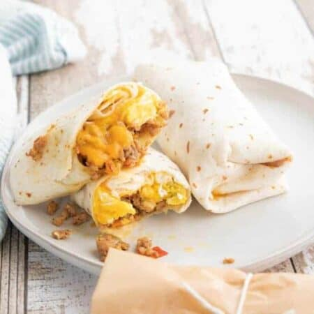 A plate of breakfast burritos