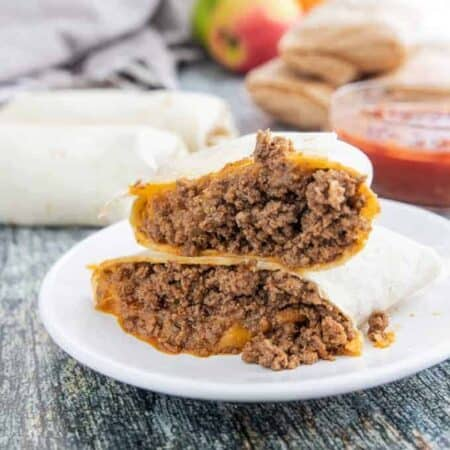 A plate of beef burritos