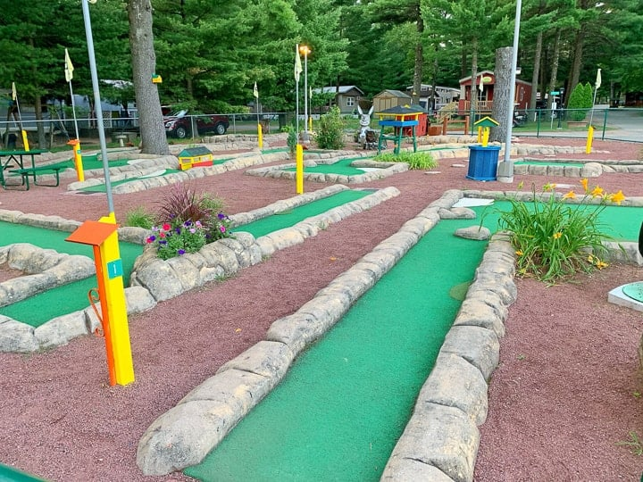 best camping in wisconsin includes golf at evergreen campground.