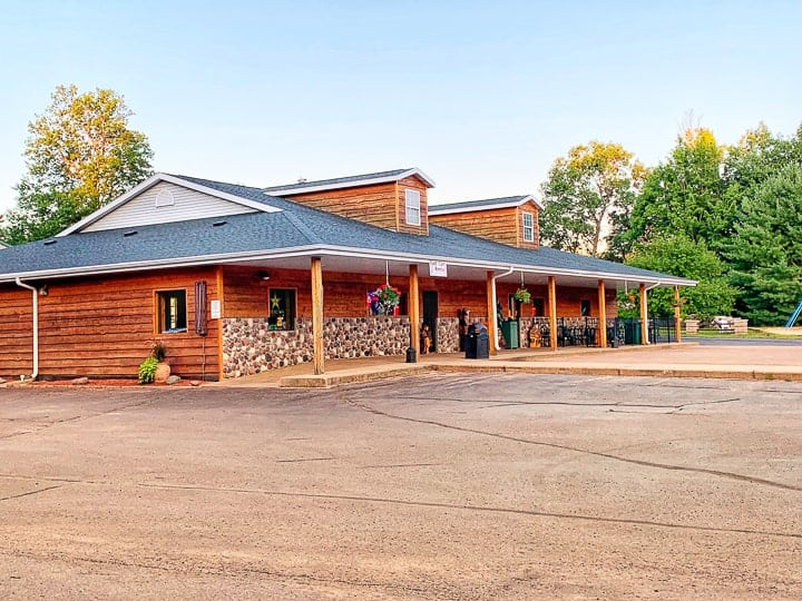 best camping in wisconsin showing evergreen campground store.