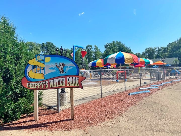 best camping in wisconsin showing a photo of chippy's water park at evergreen campground.