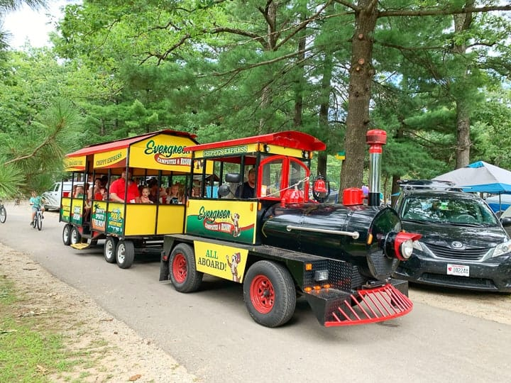 chippy's train going through evergreen campground.