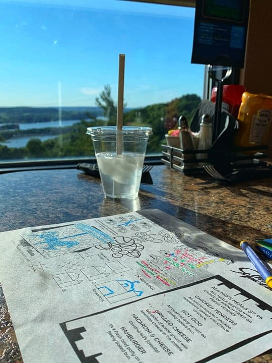 things to do in galena il showcasing the view from a booth at the summit restaurant