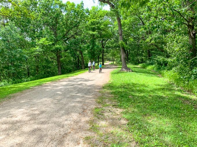 things to do in galena il showcasing a family mountain biking
