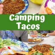 Camping Tacos shown on a paper plate served with Fritos.