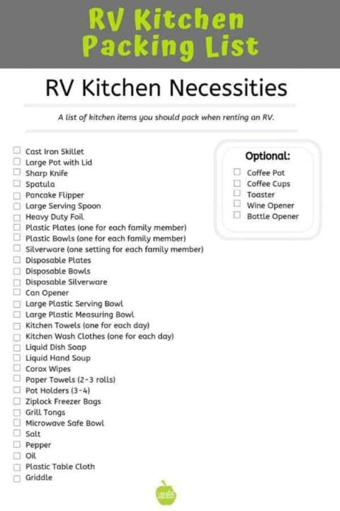 RV kitchen tools needed for cooking