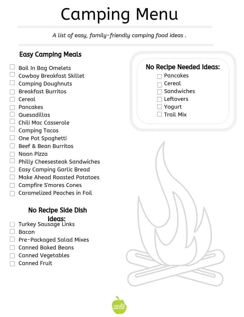 A printable camping menu with lists of meal ideas.