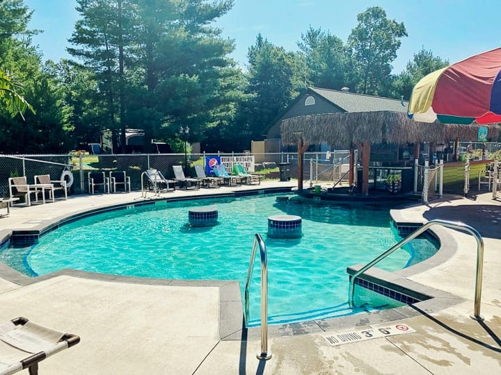 best camping in wisconsin includes a swim-up adults only pool and bar.