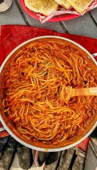 one pot of spaghetti on a campground table