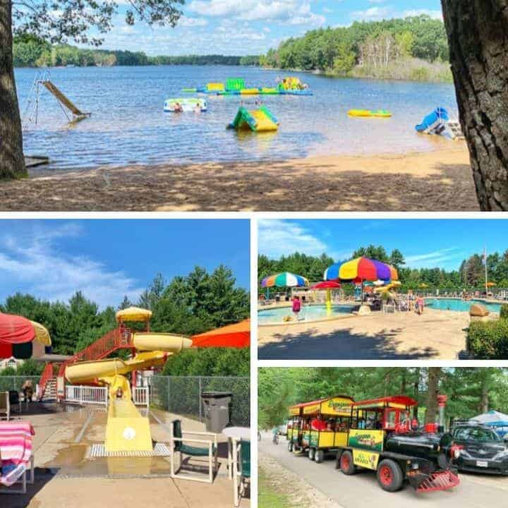 4 pictures of evergreen campground one of the best campgrounds in wisconsin. Pictures show the beach, pool, watershed, and train