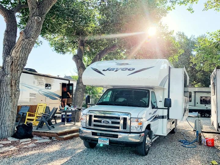 hilltop rv shown in a Koa campground