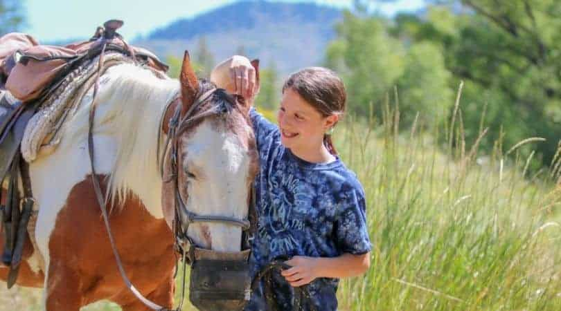 dude ranch colorado. A girl petting a horse in the tall grass of the mountains