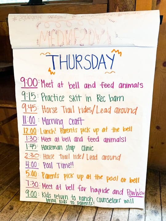 The activity board at a family dude ranch listing the various events happening on the ranch on a Thursday in Colorado.