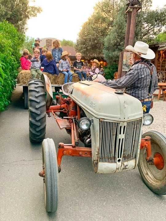 Kids and adults enjoying a hayride through the roads of Colorado.