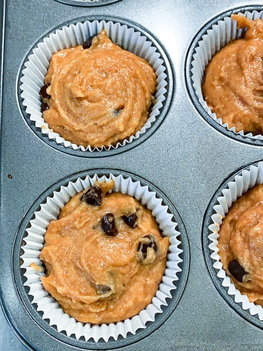 Chocolate Chip Pumpkin Muffins, a Pumpkin Chocolate Chip Muffins recipe, showing muffin batter in lines in a muffin tin ready for the oven.