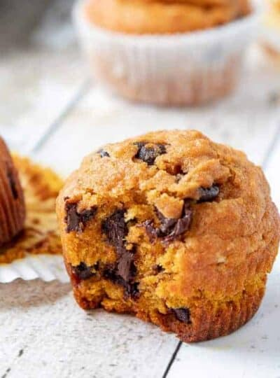 A close up of a pumpkin muffin