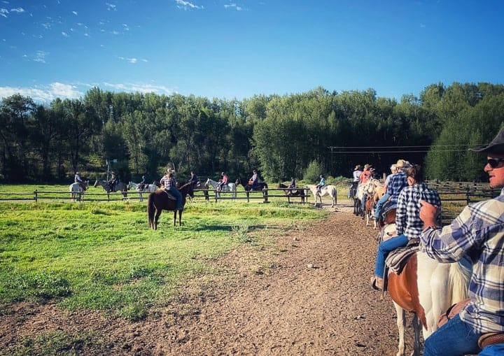 The whole ranch being shown heading out together for a scenic ride to their Breakfast Site that sits along the Colorado River.