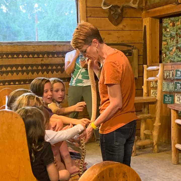 Nature Educators visiting the family dude ranch to show the children a variety of animals and let the kids pet and ask questions.