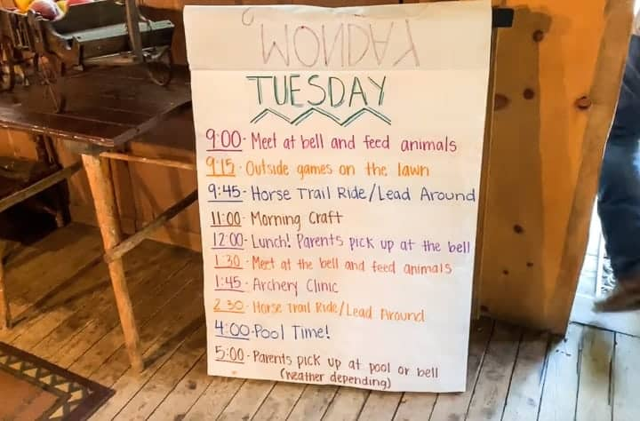 kids activity list at bar lazy j ranch in colorado