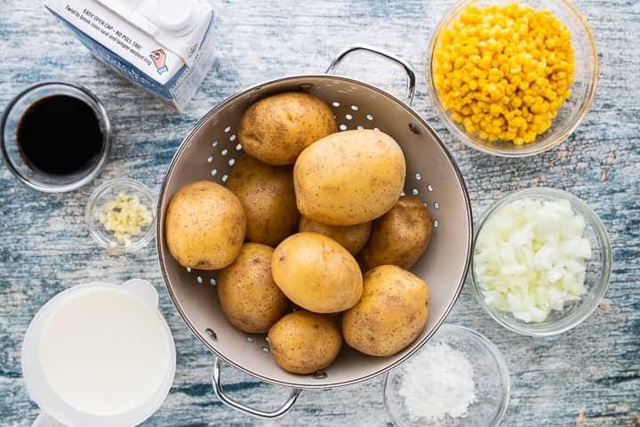 a colander of potatoes