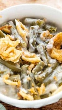 A bowl with Green bean Casserole.