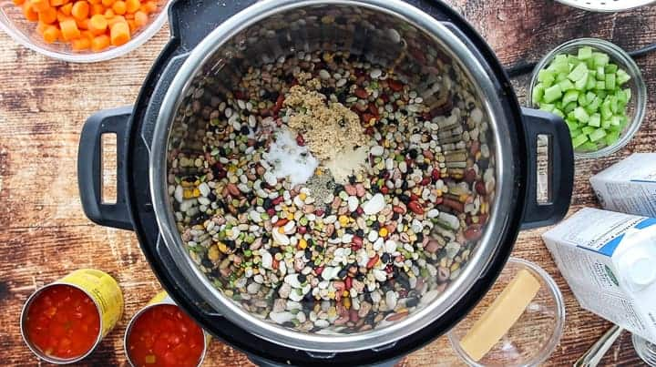 a top down look into an instant pot showing it filled with dry beans with small bowls of ingredients surrounding the instant pot.