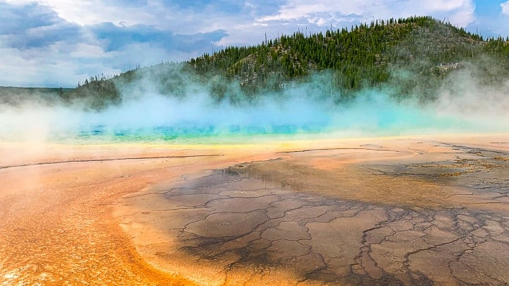 Bright colors of Prismatic falls in Yellowstone national park.