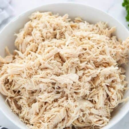 A close up of shredded chicken