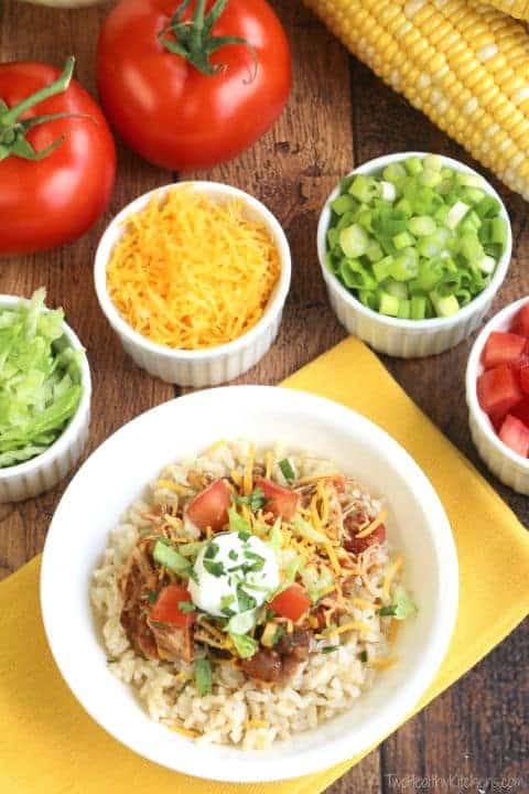 Easy Crock-Pot Chicken Burrito Bowls - Two Healthy Kitchens