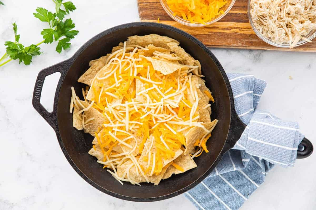 chips and cheese in a skillet