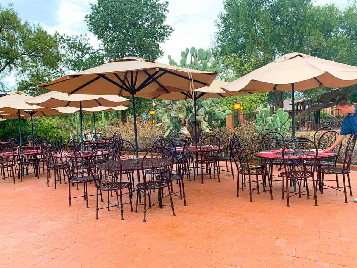 White Stallion Ranch, the Best All-Inclusive Resort in Arizona showing the outside patio dining area.
