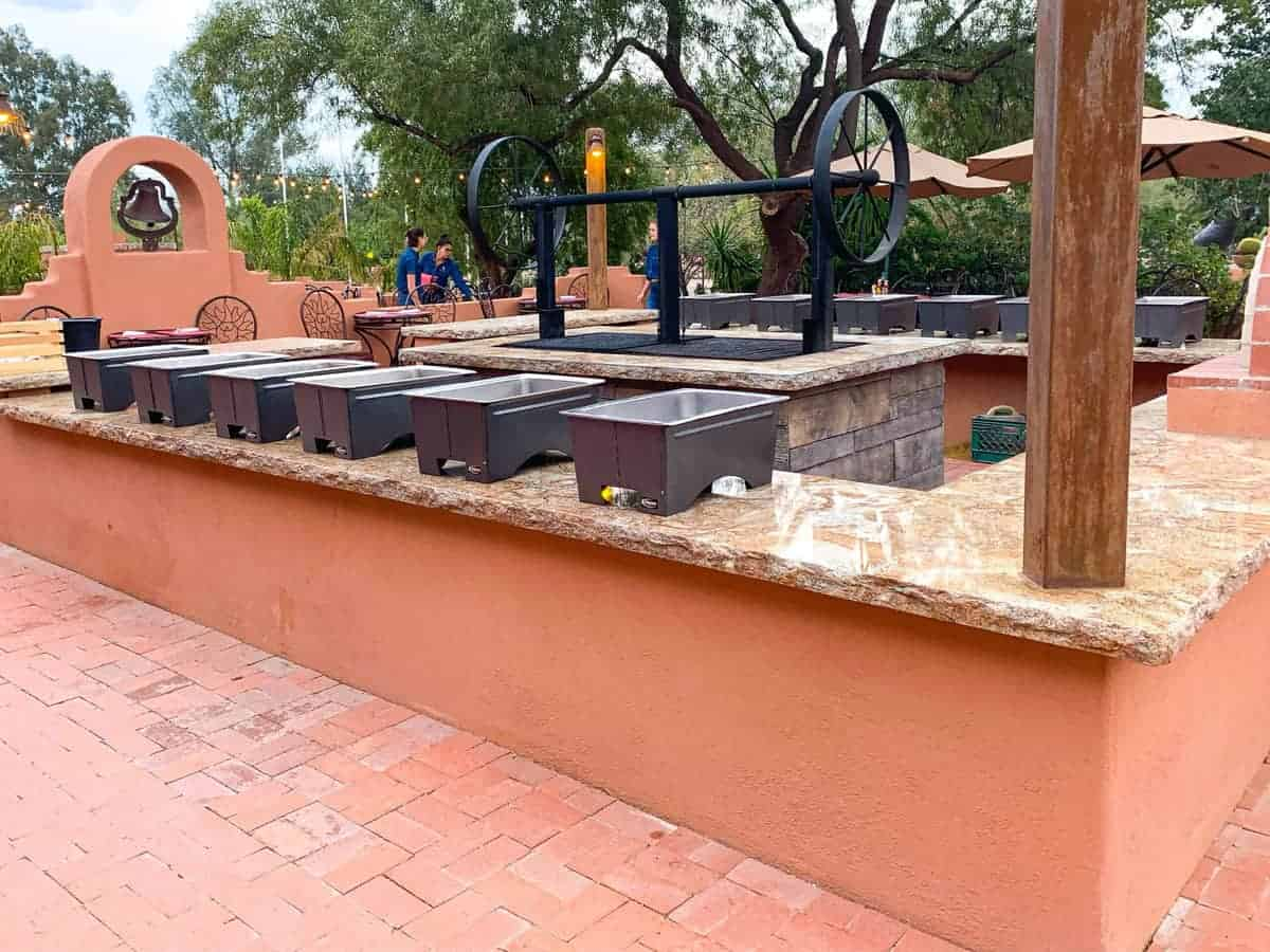 White Stallion Ranch, the Best All-Inclusive Resort in Arizona showing the outside dining buffet.