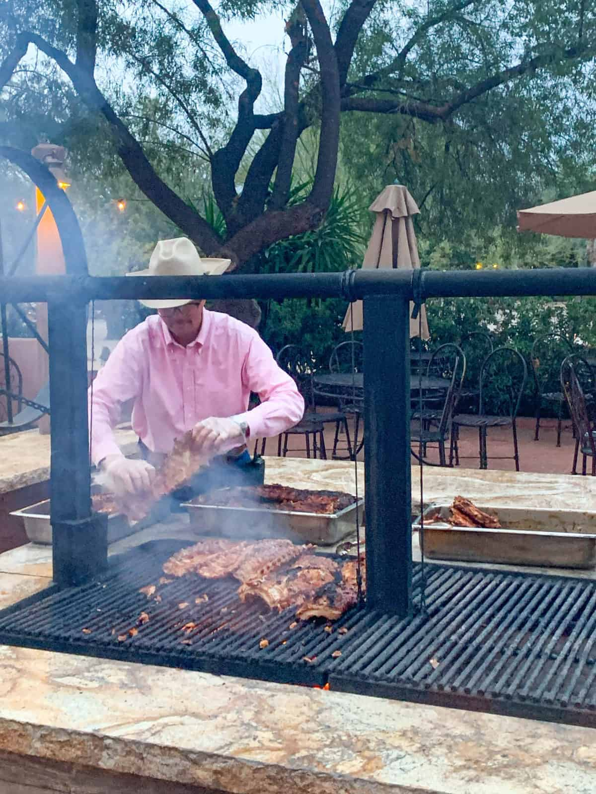 A man cooking on a grill
