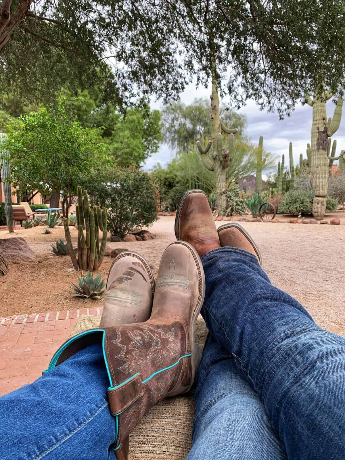 A person sitting under a tree showing cowboy boots