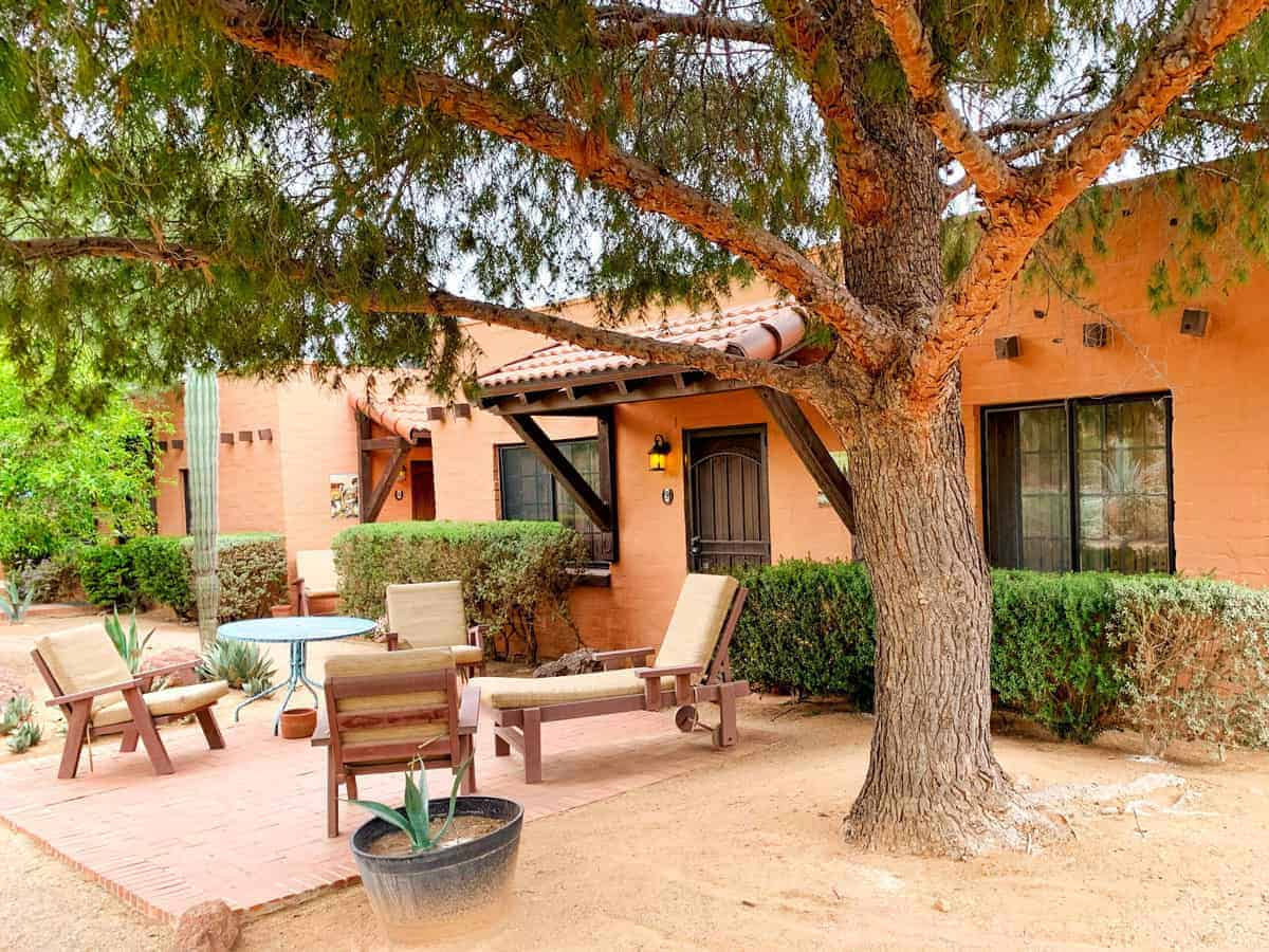 White Stallion Ranch, the Best All-Inclusive Resort in Arizona showing the guest rooms, which can nicely fit a family of four.