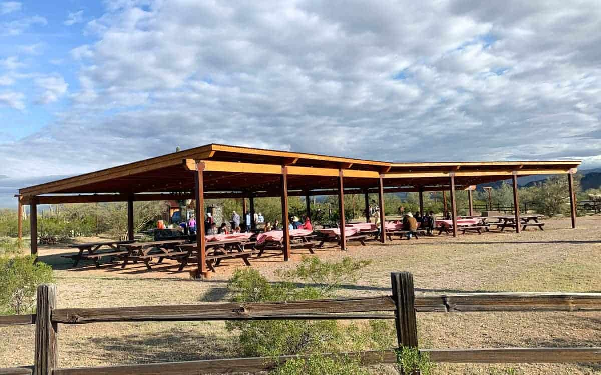 White Stallion Ranch, the Best All-Inclusive Resort in Arizona showing the breakfast site, which ranch members arrived to by a horseback ride.